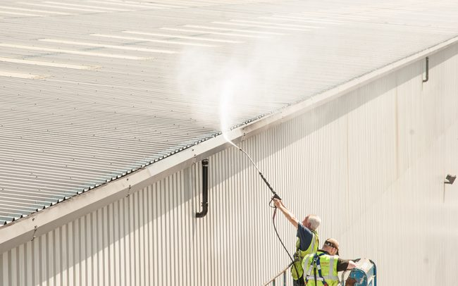 High level roof cleaning